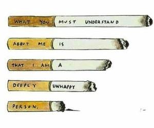 sad, cigarette, and smoke image