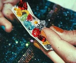flowers, smoke, and weed image