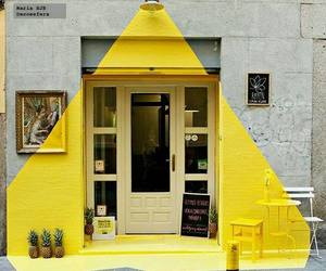 yellow, art, and house image