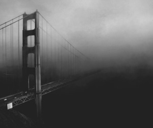 bridge, black and white, and fog image