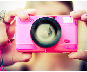 camera, girl, and pink image