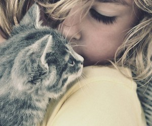 cat, girl, and blonde image