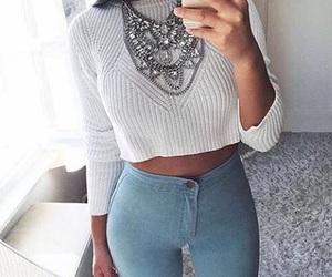 bianco, ragazza, and style image