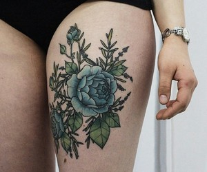 blue, tattoo, and peonies image