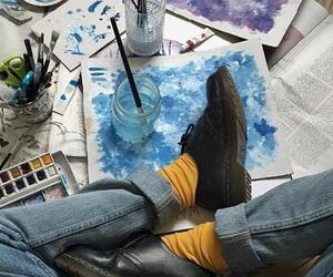 art, blue, and grunge image