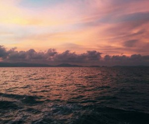 clouds, sunset, and sea image