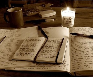 writing, book, and candle image