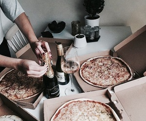 pizza, food, and champagne image