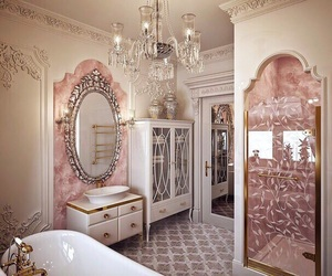 bathroom, Dream, and pink image