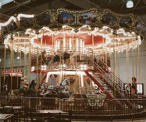antique, carousel, and horse image