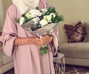 flowers, hijab, and fashion image