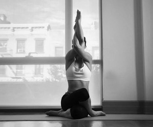 bend, yoga, and black end white image