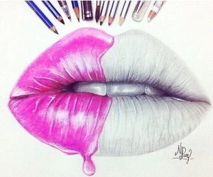 pink, lips, and draw image