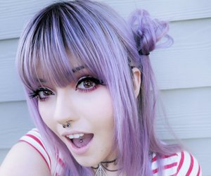 hair, purple hair, and tattoo image