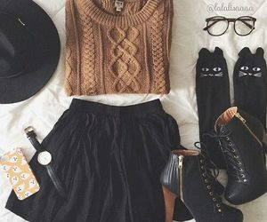 blouse, glasses, and skirt image