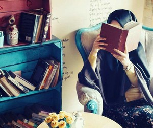 books, hijab, and classy image