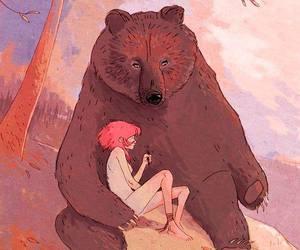 bear, girl, and illustration image