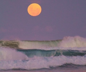 beach, moon, and waves image