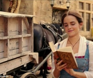 beauty and the beast, belle, and book image