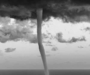 black and white, tornado, and power image