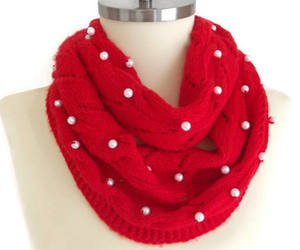 red scarf, knitted scarf, and winter scarf image