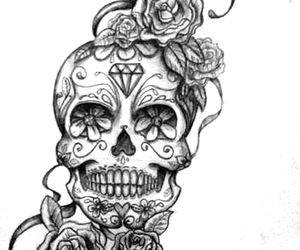 flowers, skull, and tattoo image
