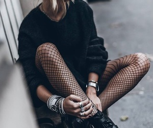 chic, fishnet, and fashion image