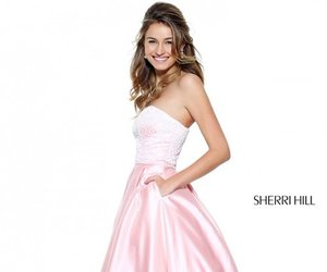 a line prom gown, sherri hill 50833, and satin pockets dress image