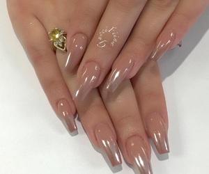 acrylic, gold, and nail polish image