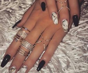 black, fur, and diamonds image