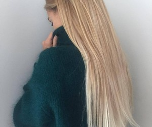 long straight blonde hair and dark green turtleneck image
