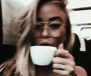 girl, coffee, and glasses image