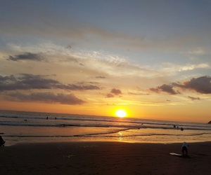 beach, sunset, and costa rica image