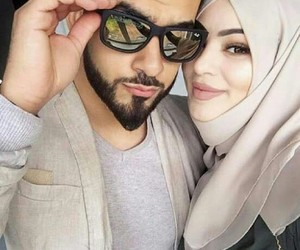beard, hijab, and couple image