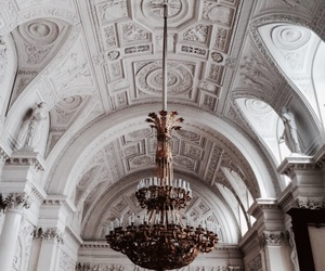 architecture, art, and chandelier image