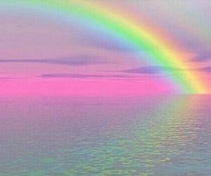 rainbow, pink, and sea image