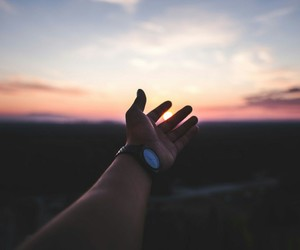 hand, sky, and travel image