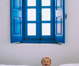 adorable, baby, and blue image
