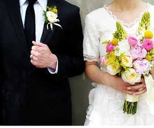 bouquet, boutonniere, and bride image