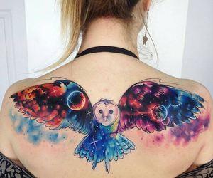 tattoo, owl, and galaxy image