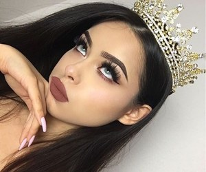 brunette, crown, and eyelashes image