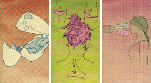 illustration, colorful, and triptych image