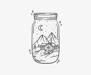 art, jar, and drawing image