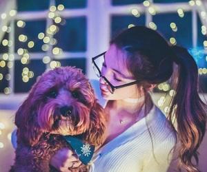 girl, light, and dog image