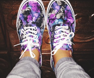 floral, flowers, and vans image
