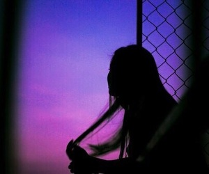 girl, purple, and grunge image