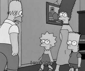 hug, simpsons, and black and white image