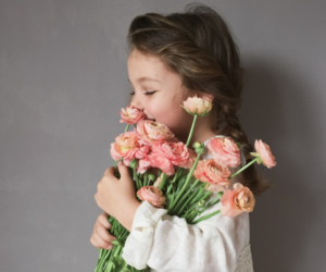flowers, girl, and baby image
