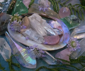 crystal, aesthetic, and flowers image