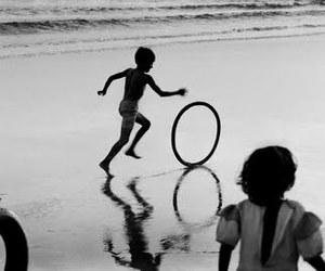 b&w, beach, and children image